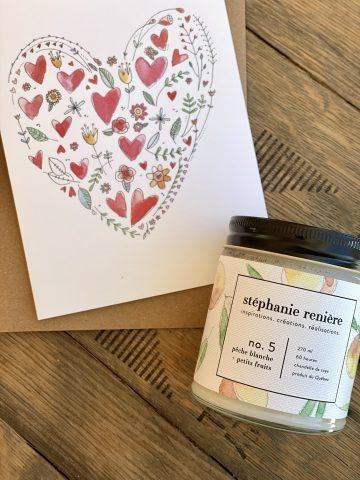 DUO chandelle peche blanche et petits fruits + carte valentine