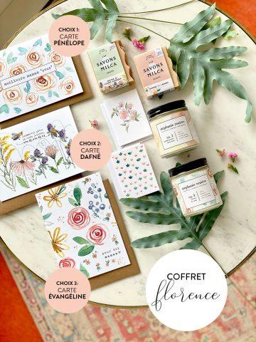 COFFRET FLORENCE chandelle fleurs de mai et pamplemousse & thym, 2 savons, 2 minis cartes et 1 choix de carte 5x7