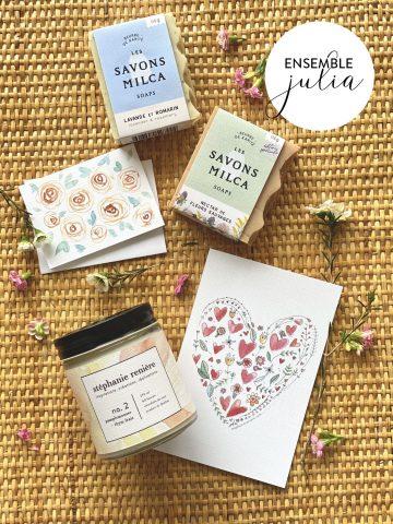 Ensemble JULIA chandelle pamplemousse thym, 2 savons et carton Valentine